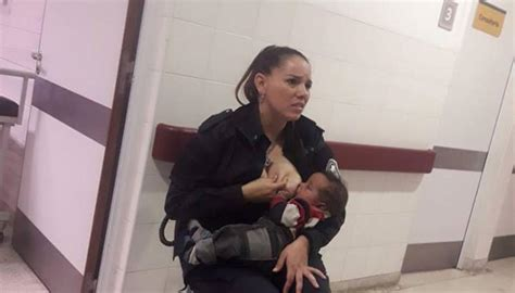 Argentinian police officer breastfeeds neglected baby